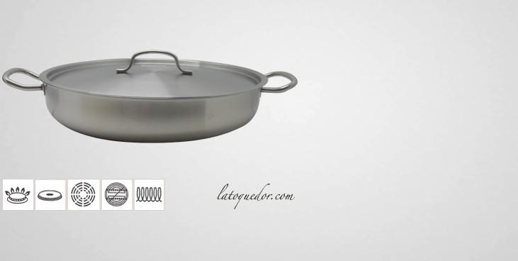 Plat paella inox avec vouvercle plat paella for Plats inox cuisine