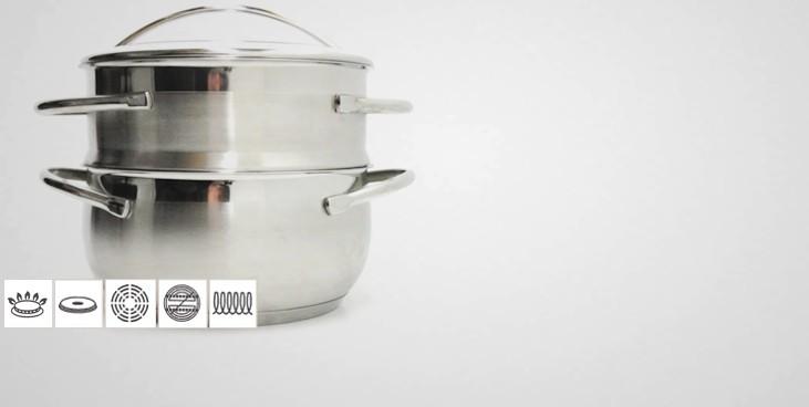 Cuit vapeur inox belly cuit vapeur inox batterie de cuisine la toque d 39 or - Cuit vapeur inox seb ...