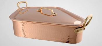 Turbotière professionnelle en cuivre avec couvercle