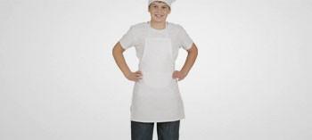 Tablier enfant en coton blanc avec bavette