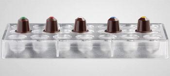 Moule à chocolat polycarbonate 21 capsules café