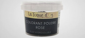 Colorant poudre rose hydrosoluble