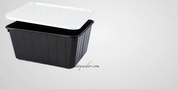 barquette plastique noir avec couverclex 115 cl cartybox boites et barquettes alimentaires la. Black Bedroom Furniture Sets. Home Design Ideas